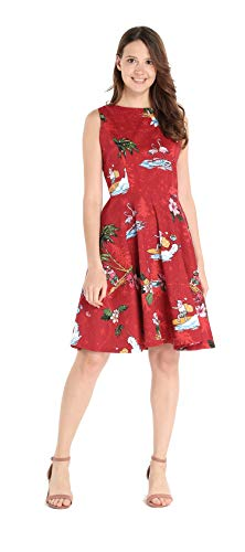 Hawaii Hangover Women's Vintage Fit and Flare Dress S Christmas Santa in Hawaii in Red