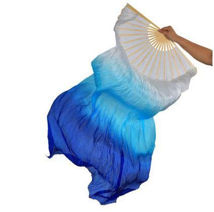 シルクファンベール 2本セット シルク100% ベリーダンス ファンベール シルクファンベール ベール シルク 衣装 扇子 団扇 舞台 小道具 アクセサリー 扇子 団扇 180*90 cm (白空色青)