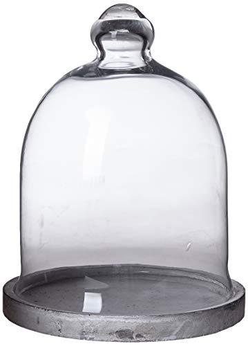 Better & Best 3001470 Fanal alto pequeño en cristal con base resina gris de cristal, blanco y gris
