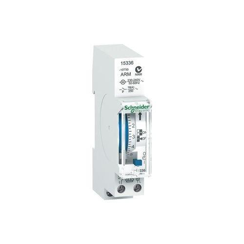Schneider Electric 15336 Acti9 IH Conmutador Horario Analógico, 24h, 100H Memoria, 66mm x 90mm x 18mm