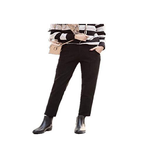 NHFGF Damen-Hose, Vintage-Stil, kariert, Grau, hohe Taille, Damenhose, leger, Wollhose Gr. XXX-Large, Schwarz