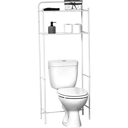 TIENDA EURASIA® Estanteria Baño Encima WC - Estanteria Metalica de 2 Baldas Universal Adaptable a Todos los WC (White)