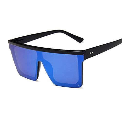 Gafas de sol cuadradas vintage de gran tamaño para mujer, con marco grande, para mujer, color negro, para pesca, golf, playa, fiesta, Negroazul,