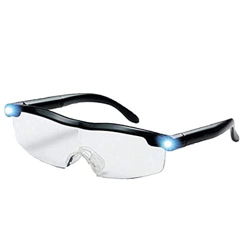 Gafas con luz LED Lupa para lectores 160% Ampliación USB Recargable Gafas para lectores, señoras, hombres y niños