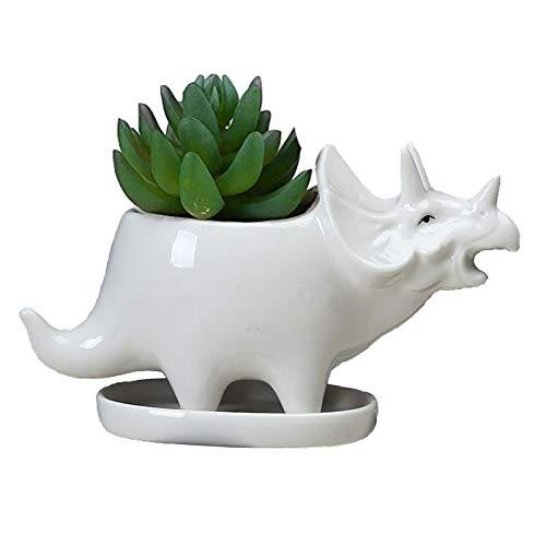 Dinosaur Shape White Ceramic Succulent Planters Pots Little Planter Flower Bonsai Plant Dino Pots Vase Container Cactus Desktop Animal Decoration Pencil Holder Nursery Pots (Triceratops)