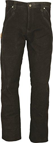 Fuente Lederhose Herren/Damen lang - Lederjeans- Echt Leder, Lederhose Jeans 501 Schwarz- Motorrad Lederjeans- Zimmermannshose Leder- Reithose Leder (34, Schwarz)