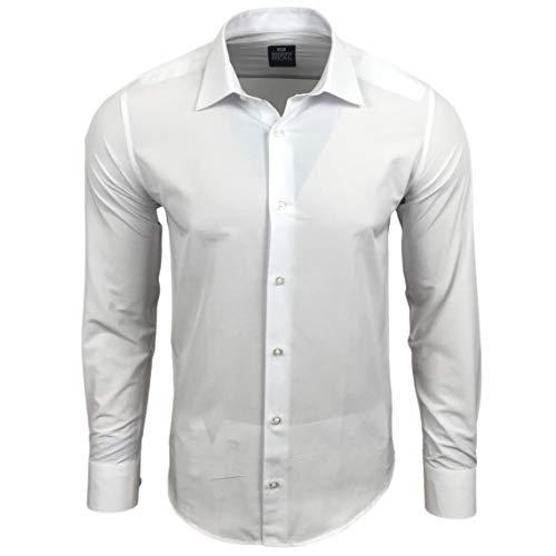 Rusty Neal Premium Basic Stretch Herren Hemd Schwarz Business Langarm Hemden Weiß Uni 55, Farbe:Weiß, Größe:M