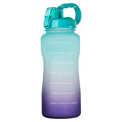 Jodimitty Botella de agua con pajita y asa, botellas de agua a prueba de fugas, sin BPA, cierre de 1 clic, gran jarra de agua deportiva para gimnasio, viajes y exteriores (verde lila, 3,8 L)