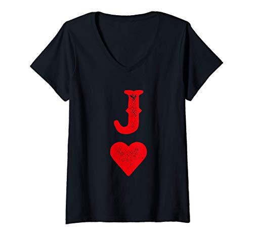 Mujer Disfraz para parejas de naipes Heart Joker Skat Poker Camiseta Cuello V