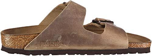 Birkenstock Classic Arizona Leder, Unisex-Erwachsene Pantoletten (schmal), Braun (Tabacco Brown), 43 EU