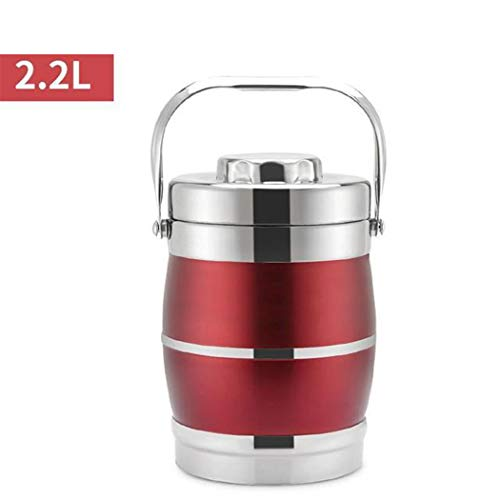 Lunch Containers 3 Tiers Thermos Containers Stainless Steel Thermal Insulated Food Container Warmer Flask Soup Lunch Box Wine Red 1.6L