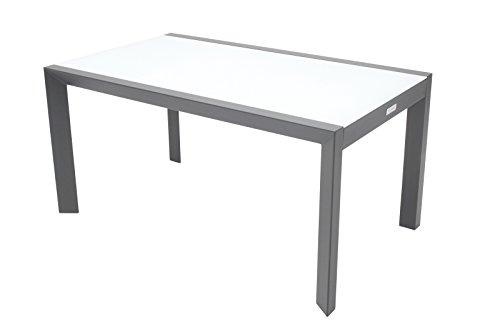 Villana stilvoller Gartentisch aus hochwertigem Aluminium in schwarz, inkl. Tischplatte aus starkem Glas, ca. 150 x 90 x 74 cm, großer Gartentisch, Dinnertisch, Glastisch, wetterfest, zeitlos