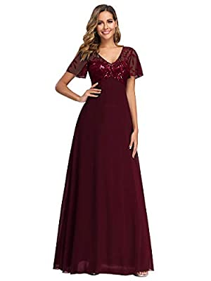 Women's V-Neck Embroidered Bridesmaid Dress Evening Maxi Dress Burgundy US20