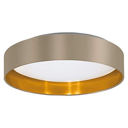 EGLO LED Deckenlampe Maserlo, 1 flammige Textil Deckenleuchte, Material: Stahl, Stoff, Kunststoff, Farbe: Taupe, gold, weiß, Ø: 40,5 cm
