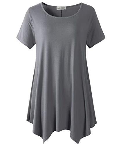LARACE Womens Swing Tunic Tops Loose Fit Comfy Flattering T Shirt Deep Gray