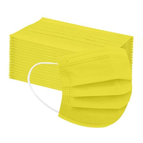 Amphia 50 Stück Kinder Mundschutz Einweg 3-lagig Atmungsaktiv Face Cover, Kinder Accessory Schutz, Outdoor Anti-Staub Bandana Loop (Gelb)