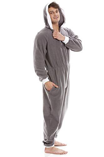 Pijama de una Pieza para Hombre - Forro Polar Suave - con Capucha y Cremallera Frontal - Gris XL