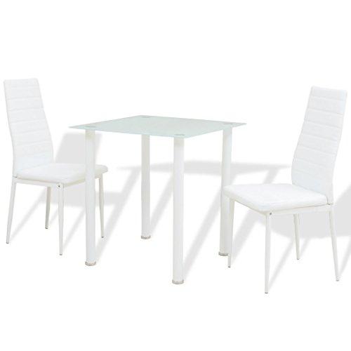 Festnight 3-tlg. Essgruppe mit 1 Esstisch mit 2 Essstühle Küchenset Esstisch-Set Esszimmertisch Esszimmerstuhl Wei?