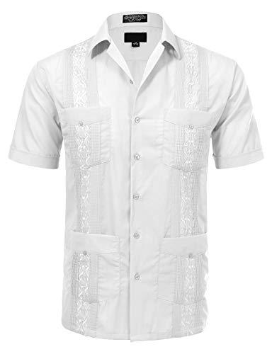 Allsense Men's Short Sleeve Cuban Guayabera Shirts 16-16.5N L White