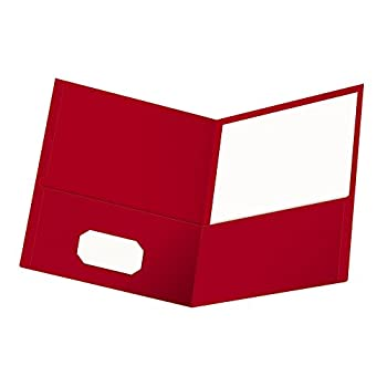 Oxford Twin-Pocket Folders Textured Paper Letter Size Red Holds 100 Sheets Box of 25  57511EE