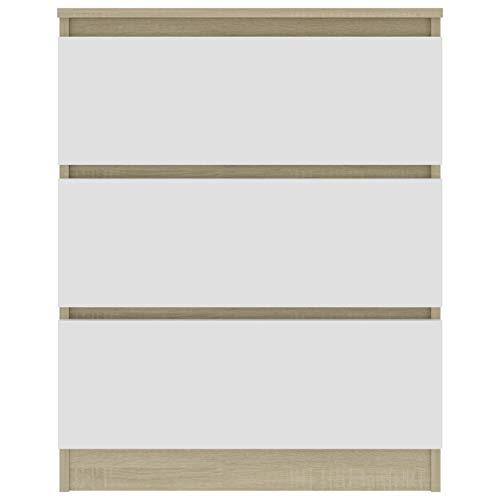 Qnotici Mueble con cajones para Sala de Estar, Pasillo, Moderno, aparador de pie, 60x35x76 cm, Roble Blanco y Sonoma