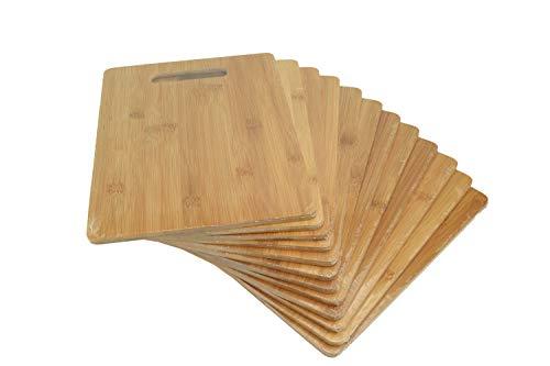Bulk Plain Bamboo Cutting Board (Set of 12)   For Customized, Personalized Engraving Purpose   Wholesale Premium Bamboo Board (Rectangular 12' X 9')
