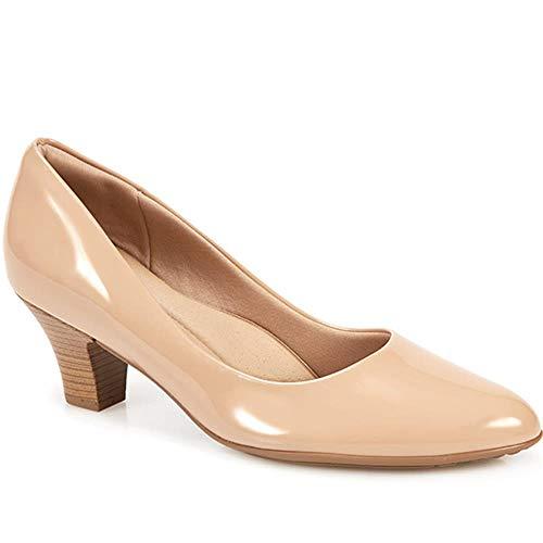 Piccadilly for Pavers Damen Klassische Pumps Schuhe Absatz Nude Patent 36 EU