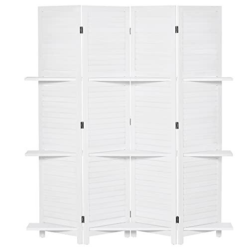 HOMCOM Biombo Separador de Madera de 4 Paneles Divisor de Habitaciones Plegable con 3 Estantes Extraíbles Diseño Persiana para Dormitorio Oficina 160x170 cm Blanco