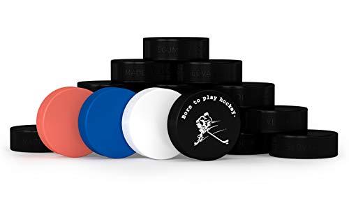 VEGUM Professionelles Eishockey trainingsset 20 Pucks, Eishockey Wettbewerb Official Puck, Mit einen Puck Souvenir mit dem Logo Born to Play Hockey