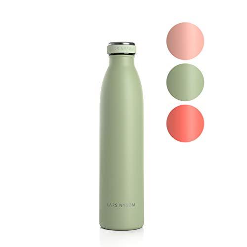 LARS NYSØM Edelstahl 750ml Trinkflasche | BPA-freie Isolierflasche | Auslaufsichere Wasserflasche für Sport, Fahrrad, Hund, Baby, Kinder (Sage)
