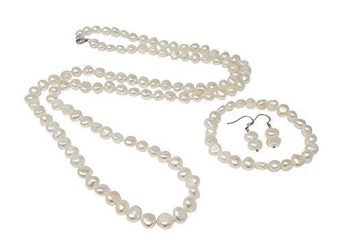 TreasureBay - Set di collana, bracciale e orecchini con perle barocche naturali, 8-9 mm, colore: Bianco