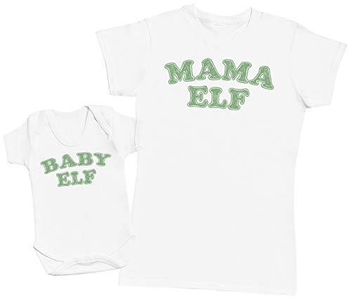 Baby Elf & Mama Elf - Ensemble Mère Bébé Cadeau - Femme T Shirt & bébé Bodys - Blanc - XL & 3-6 Mois