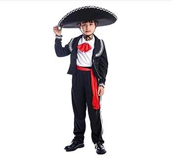 Kids Boys Mexican Mariachi Costume Sombrero Children Mexican Amigo Senor Costume Cosplay Halloween Outfit  Black S