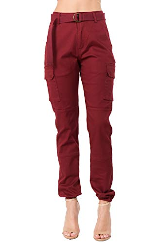 TwiinSisters Women's High Waist Slim Fit Color Cargo Joggers Pants with Matching Belt - Small, Burgundy