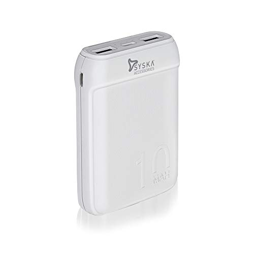 Syska 10000 mAh Li-Polymer P1016B Power Pocket100 Power Bank (White)