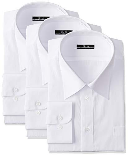 [アトリエサンロクゴ] 白ワイシャツ 長袖 3枚セット 形態安定 ビジネス 冠婚葬祭 メンズ ホワイト L(41-82)(日本サイズL相当)