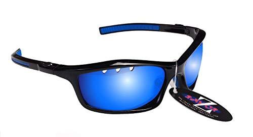 UV400 Pro - Gafas de sol deportivas para hombre y mujer, polarizadas al aire libre, color negro y azul iridio espejado)