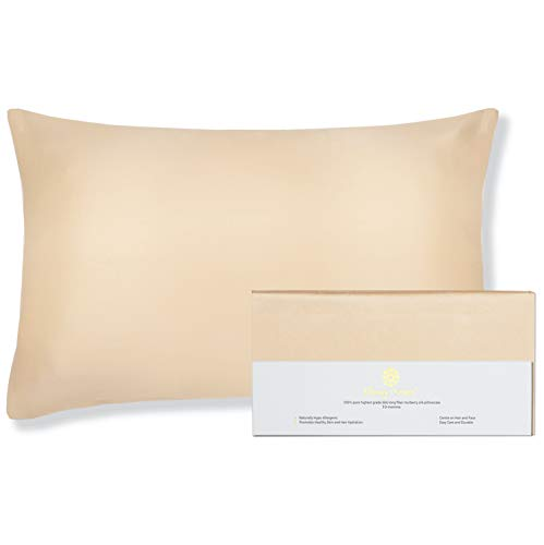 """Beauty of Orient - 100% Pure Mulberry Silk Pillowcase for Hair and Skin, 19 Momme Both Sides, Hidden Zipper, Natural Hypoallergenic Silk Pillow Case - Best Sleep (1pc Standard - 20"""" x 26"""", Champagne)"""