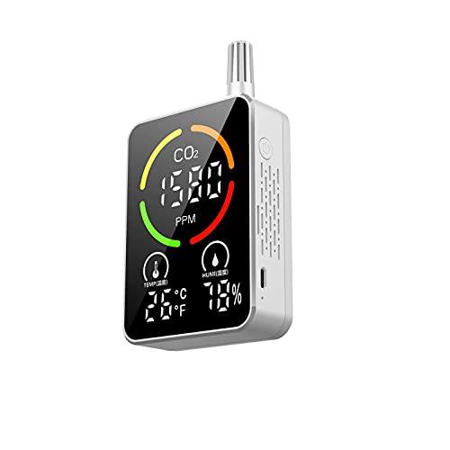 JINGLING CO2-Monitor, Luftqualitätsdetektor für CO2, Temperatur, Luftfeuchtigkeit, Innenraum-Luftqualitätsmesser mit Alarmsystem für Home-Office-Auto