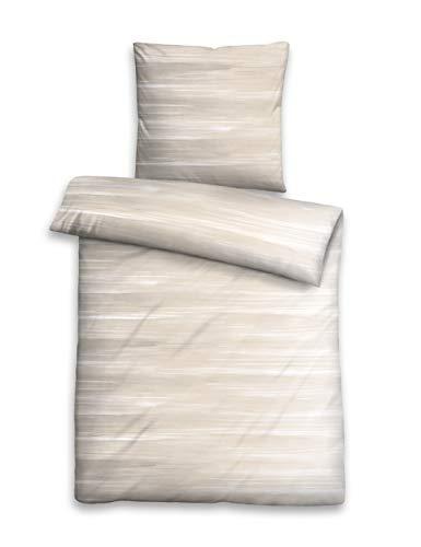 biberna 0068568 Bettwäsche Garnitur mit Kopfkissenbezug Baumwoll-Satin 1x 135x200 cm + 1x 80x80 cm taupe