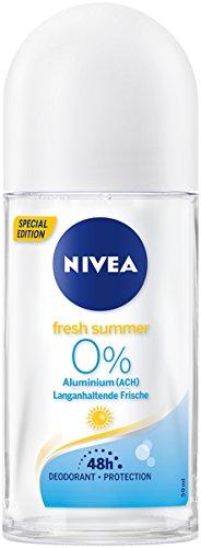 Nivea Fresh Summer Deo Roll On in verpakking van 6 stuks (6 x 50 ml), deodorant zonder aluminium met zomerse lichte geur, deodorant met 48 uur bescherming verzorgt de huid