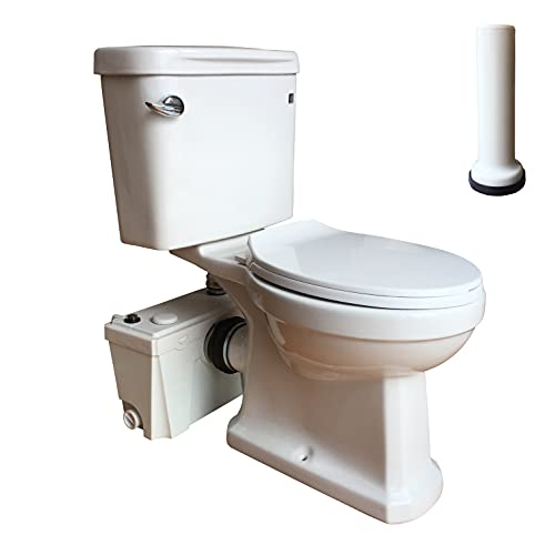 Macerating Toilet 3 piece Set with 500Watt Maerator Pump, Upflush Toilet System for Basement Room Included Water Tank, Toilet Bowl, Toilet Seat, Extension Pipe
