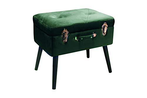 Pusher Bauletto Poggiapiedi, Legno, Verde Scuro, 41 x 30 x 58 cm