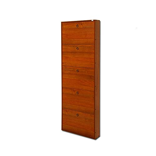 Scarpiera in legno 5 ribalte noce antico cm 180x65x15 per interno