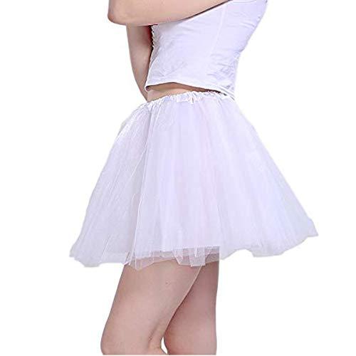 Tutu Damen Tüll Rock Tüllrock 50er 80er Kurz Ballet 3 Layers Tanzkleid Unterröcke Trachtenröcke Zubehör für Frauen Mädchen, 7 Farben (Weiß)