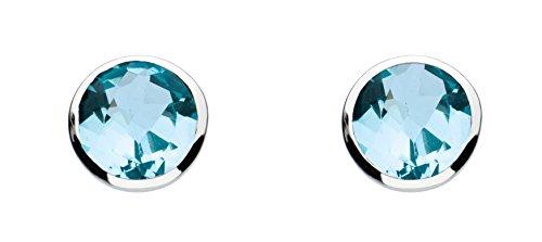 Dew Women's Sterling Silver and Blue Topaz Stone Stud Earrings