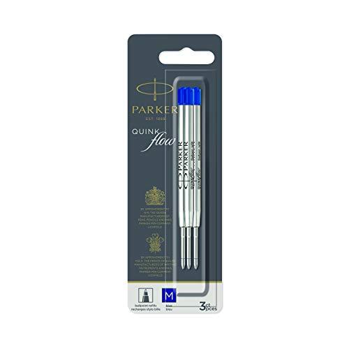 PARKER QUINKflow recharges pour stylo bille | pointe moyenne | bleue | lot de 3
