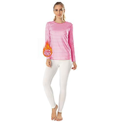 MANCYFIT Thermal Underwear for Women Long Johns Set Fleece Lined Ultra Soft Striped Shirt Light Pink X-Small (Apparel)