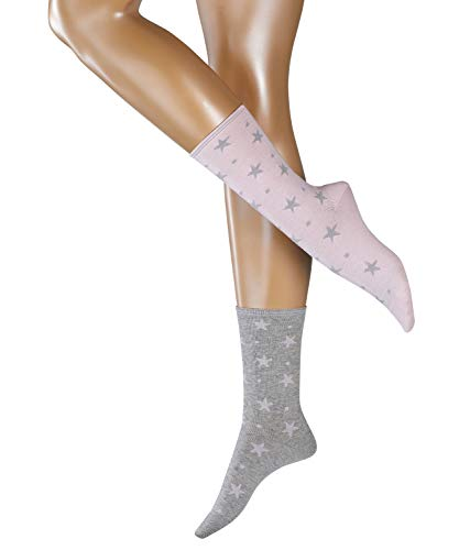 ESPRIT Damen Dots und Stars 2-Pack W SO Socken, Rosa (Sortiment 70), 35-38 (UK 2.5-5 Ι US 5-7.5) (2er Pack)