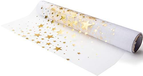 100% Mosel Tischläufer Sterne, in Gold (28 cm x 5 m), Tischband aus Organza, edle Tischdeko für Weihnachten & Adventszeit, festliche Dekoration zu besonderen Anlässen